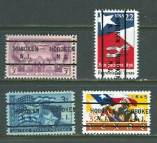 Hoboken NJ 255 precancel on all four Texas commems 1936 1945 1986 1995