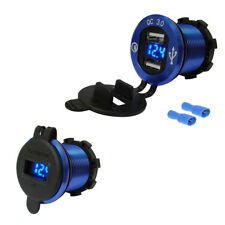 4.2A Dual USB Charger Voltage Guage Blue For BMW F800 F650 F700 R1200 GS R1200RT