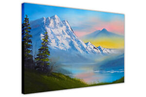 Winter Mountain Valley Oil Painting Re-Print Canvas Pictures Wall Art Prints