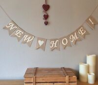 NEW HOME NEW HOUSE House Warming Hessian Bunting Banner Burlap Vintage Rustic