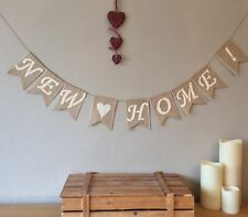 ❤️ NEW HOME NEW HOUSE House Warming Hessian Bunting Banner Burlap Vintage Rustic