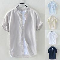 Summer Men Baggy Cotton Linen Solid Short Sleeve Button Retro T Shirt Top Blouse