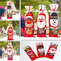 Christmas Xmas Wine Bottle Cover Bag Snowman Santa Claus Table Dinner Decor S