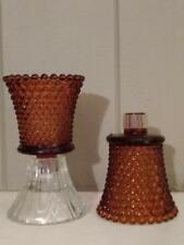 Home Interiors Vintage Amber Hobnail Votive Cup with Grommets - Set of 2