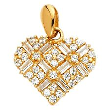 Charm Love Flower Stylish Fancy 15x15 mm Cz Heart Pendant Solid 14k Yellow Gold