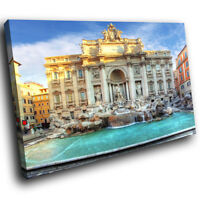 SC459 Trevi Fountain Rome Sunrise Landscape Canvas Wall Art Large Picture Prints