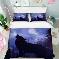 3D Moon Wolf A339 Animal Bed Pillowcases Quilt Duvet Cover Set Queen King Zoe