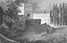 SPAIN. Gate of Alhambra 1880 old antique vintage print picture