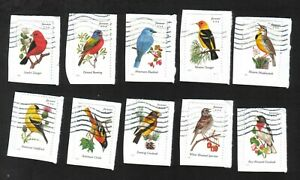 #4882-91 Songbirds, Forever (49 cent) Used Set of 10, On Paper