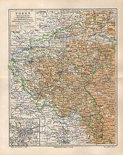 POSEN Polen Schlesien  historische  Landkarte 1896 Gnesen Bromberg