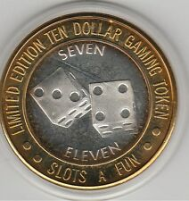 1994 Slots-A-Fun Lucky Seven Dice 3&4 .999 Fine Silver Strike $10 Casino Token