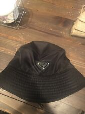 Prada Bucket Hat Black Nylon With Logo NWT