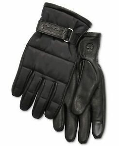 Timberland Men's Winter Gloves Black Size Medium M Quilted Cuff $98 #196
