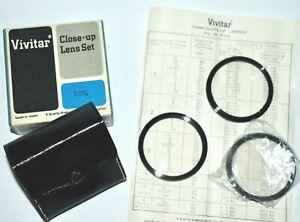 Vivitar 55mm CLOSE-UP LENS SET Macro Filter #1, 2, 3 w/ Case Box, Info Sheet EUC