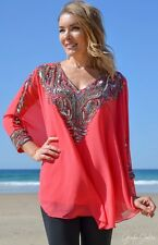 Large Women Hand Beaded Kaftan Caftan Top Free Size suitable upto size 16