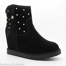 WOMENS DESIGNER FAUX FUR LINED MID WEDGE SUEDE BOOT ANKLE DIAMANTE SNOW WINTER
