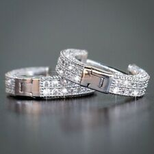 925 Silver 18k Gold White Sapphire Hoop Earrings Women Wedding Fine Jewelry