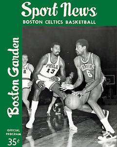Bill Russell & Wilt Chamberlain - 1960's Celtics Program Cover 8x10 Color Photo