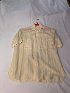 Hemd kurzarm weiß/gelb 100% Leinen von Lorenzini Größe M