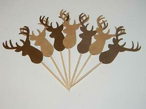24 Shades of Deer Cupcake toppers Woodland Baby Shower Birthday Decorations