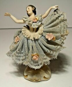 Antique Dresden Lace Figurine, Blue Dress, Marked