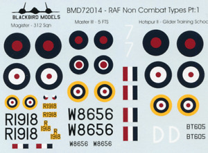 RAF Non Combat Types 1/72nd scale decals
