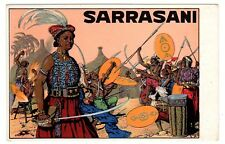 POSTCARD GERMAN SARRASANI CIRCUS WARRIORS WITH SPEARS & WOMAN WITH SABER