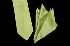 DOLCE PUNTA Tie Pocket Sq Set, Jet Black Thin Stripes on Chartreuse Green Silk