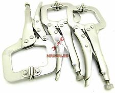"3pc 6"" Locking Vise C-Clamp Pliers Flex Pads Hand Tool Welding New"
