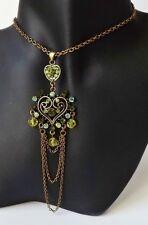 Halskette Vintage Collier Kristalle Strass Ornament peridot grün antik gold