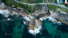 Digital Drone Photograph Wallpaper Image Waves Over Rocks Sydney Free Shipping