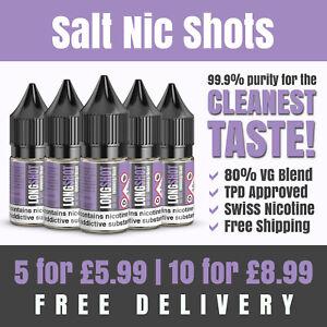 SALT Nic Shots | 10ml | 20mg | 80VG | Premium Swiss Nicotine | Made in the UK