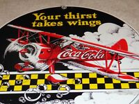"VINTAGE COCA COLA AIRPLANE THIRST WING 10"" PORCELAIN METAL SODA POP GAS OIL SIGN"