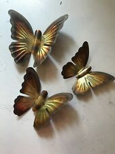 Set (3) Vintage HOME INTERIOR Gold-Tone Butterflies Home Decor Various Sizes 352