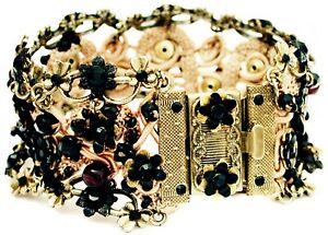 Michal Negrin Black Crystals Beads Crochet Bracelet