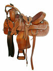 """New Carved Leather Saddle With Tack Set Suitable For Draft Horses Handmade 15"""""""