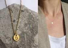 "Delicate Gold Round Disc "" D "" Letter Initial Pendant Necklace 18""L chain Urban"
