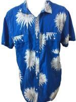 INC mens Hawaiian shirt size XXL cotton blue white floral snaps 2 pockets