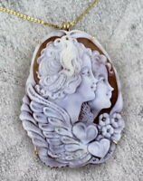 Shell Cameo Necklace in 14kt Rolled Gold   Wire Wrapped - Sisters