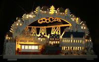 LED 3D-Schwibbogen mit Räucher-Lok Eisenbahn Zug 68x39cm Erzgebirge Dampflok