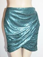 blessed are the meek Designer Blue Sequins Wrap Evening Skirt Size 1 NEW #TB109