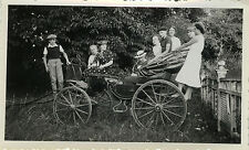 PHOTO ANCIENNE - VINTAGE SNAPSHOT - CALÈCHE VOITURE ATTELAGE FAMILLE MODE DRÔLE