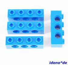 LEGO City Creator Technik 4 Stk. Loch Stein Balken 1 x 4 blau blue 3701   NEU