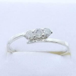 Past, Present, Future 14K White gold plate/925 .22ctw Diamond Engagement Ring