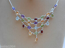 Genuine Sterling Silver Sri Lankan Multi Colour Gems Net Necklace (N22/2)
