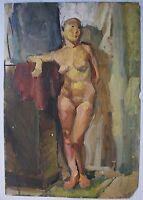 Russian Ukrainian Soviet Oil Painting female figure nude girl realism