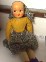 Vintage Cloth Doll Made In Poland Hand Painted Plastic Face Stamped Poland