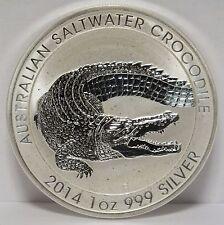 Australia 2014 Saltwater Crocodile .999 Silver Coin Dollar - 1 oz Troy - AD242