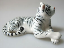 Wildlife MINIATURE HAND PAINTED  PORCELAIN White Bengal Tiger Statue FIGURINE