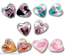 250 Hello Mixed Lampwork HOTSELL Glass Color-Lined Foil Heart Beads B09904